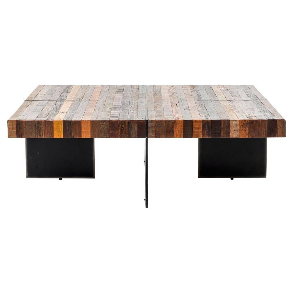 Dayle Rustic Lodge Chunky Square Wood Iron Coffee Table | Kathy for Chunky Rustic Coffee Tables (Image 12 of 30)