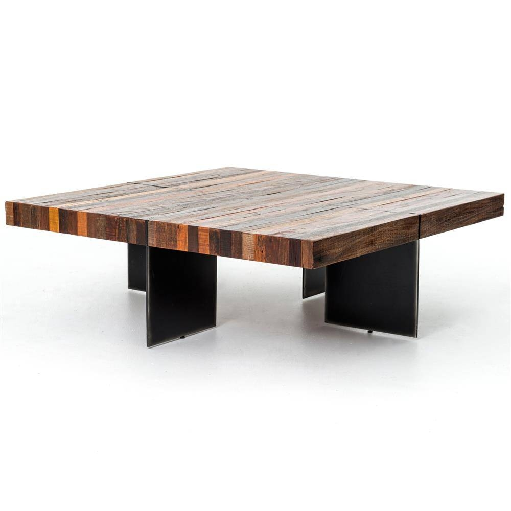Dayle Rustic Lodge Chunky Square Wood Iron Coffee Table | Kathy inside Chunky Wood Coffee Tables (Image 11 of 30)