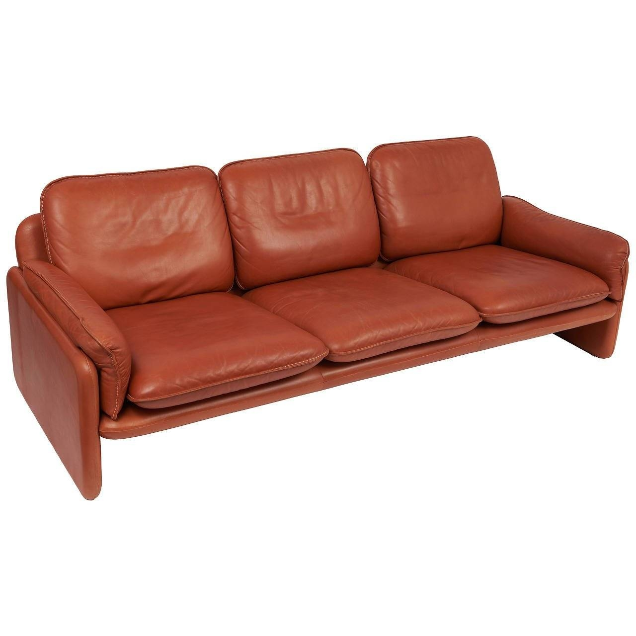 De Sede Three-Seat Cognac Aniline Leather Sofa, Circa 1970 For inside Aniline Leather Sofas (Image 16 of 30)