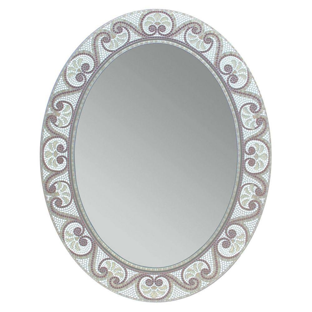 Deco Mirror 23 In. X 29 In. Earthtone Mosaic Oval Mirror-1128 within White Oval Mirrors (Image 3 of 25)