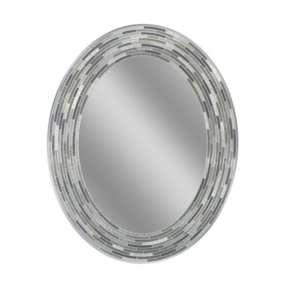 Deco Mirror 29 In. L X 23 In. W Reeded Charcoal Oval Tiles Wall regarding Oval Wall Mirrors (Image 4 of 25)