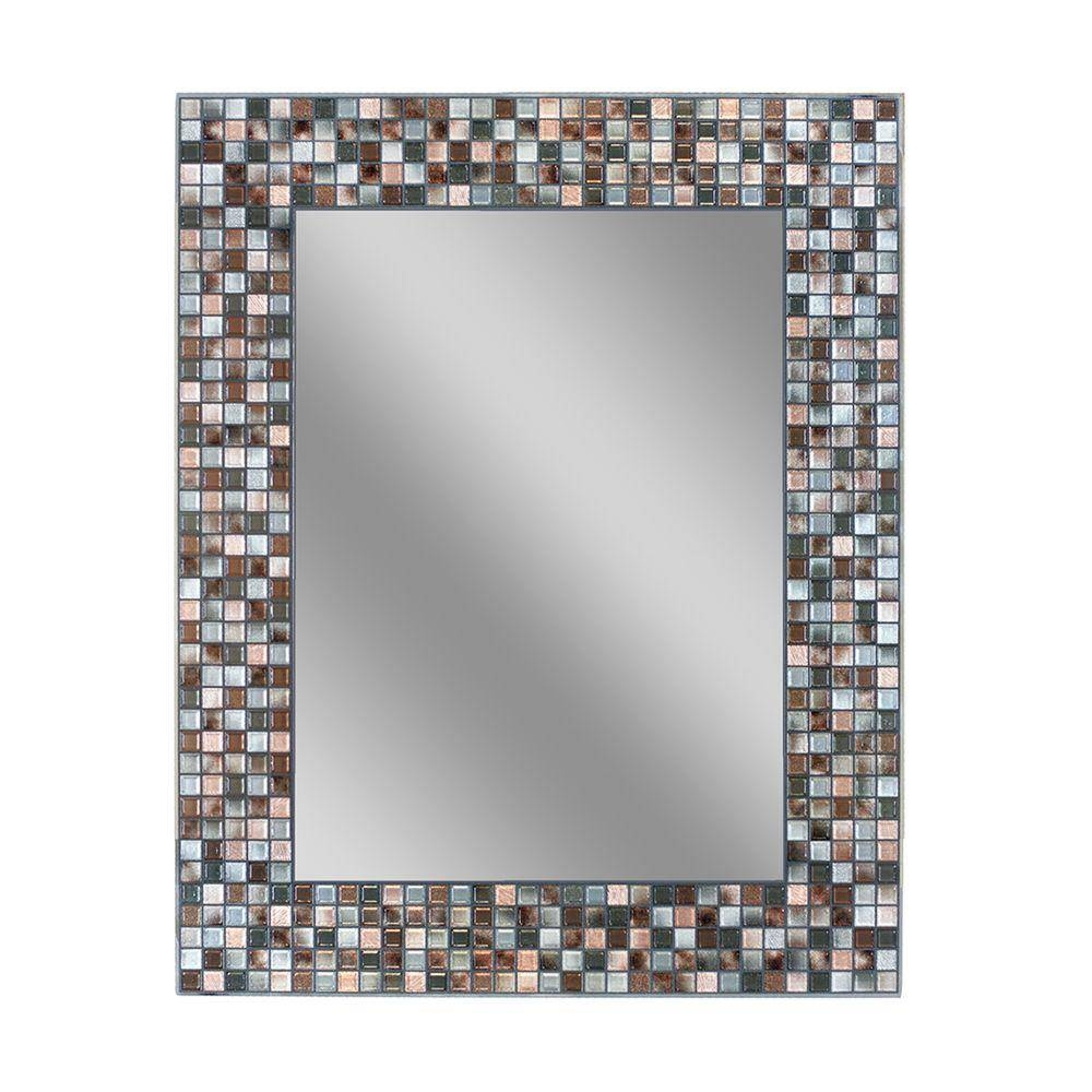 Deco Mirror 30 In. L X 24 In. W Earthtone Copper-Bronze Mosaic intended for Mosaic Mirrors (Image 5 of 25)