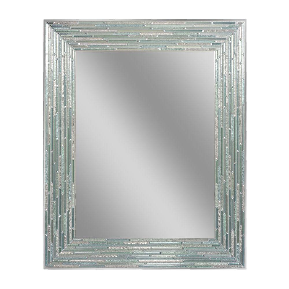 Deco Mirror 30 In. L X 24 In. W Reeded Sea Glass Wall Mirror-1205 pertaining to Deco Bathroom Mirrors (Image 18 of 25)