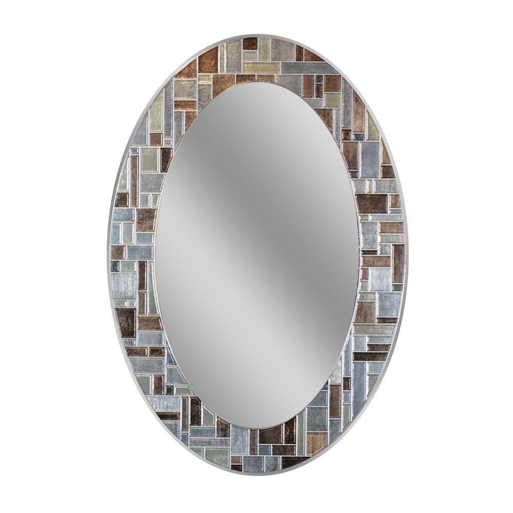 Deco Mirror 31 In. L X 21 In. W Windsor Oval Tile Wall Mirror-1201 within Silver Oval Wall Mirrors (Image 9 of 25)