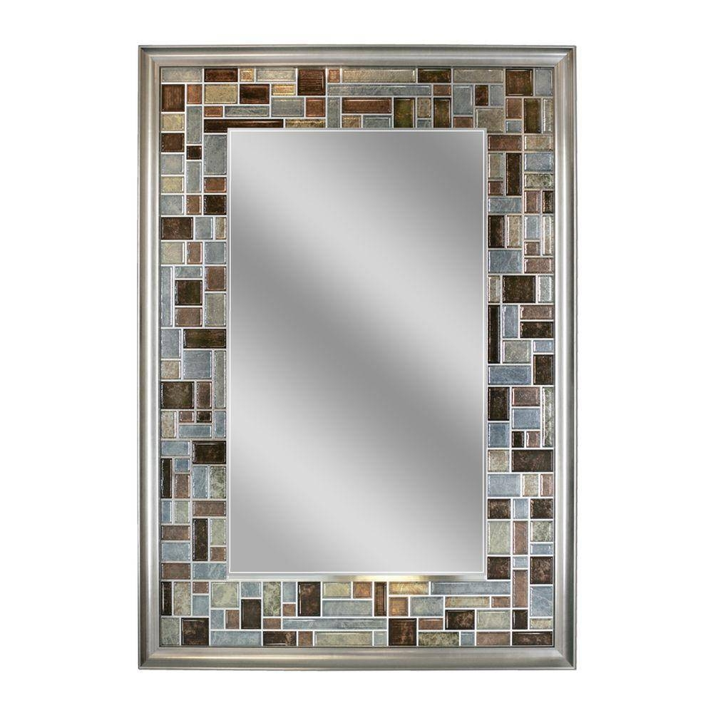Deco Mirror 34 In. L X 24 In. W Windsor Tile Mirror In Brush within Deco Bathroom Mirrors (Image 19 of 25)