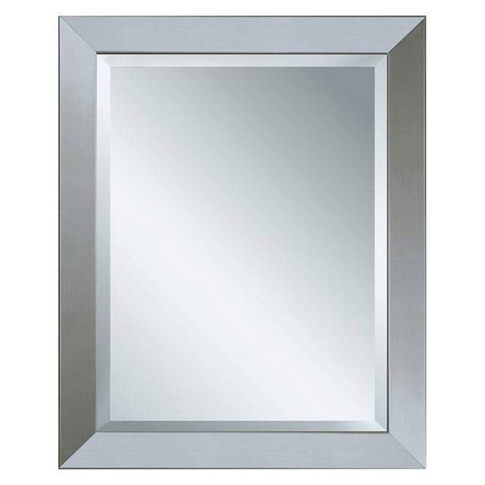 Deco Mirror 44 In. X 34 In. Modern Wall Mirror In Brushed Nickel with Deco Bathroom Mirrors (Image 20 of 25)