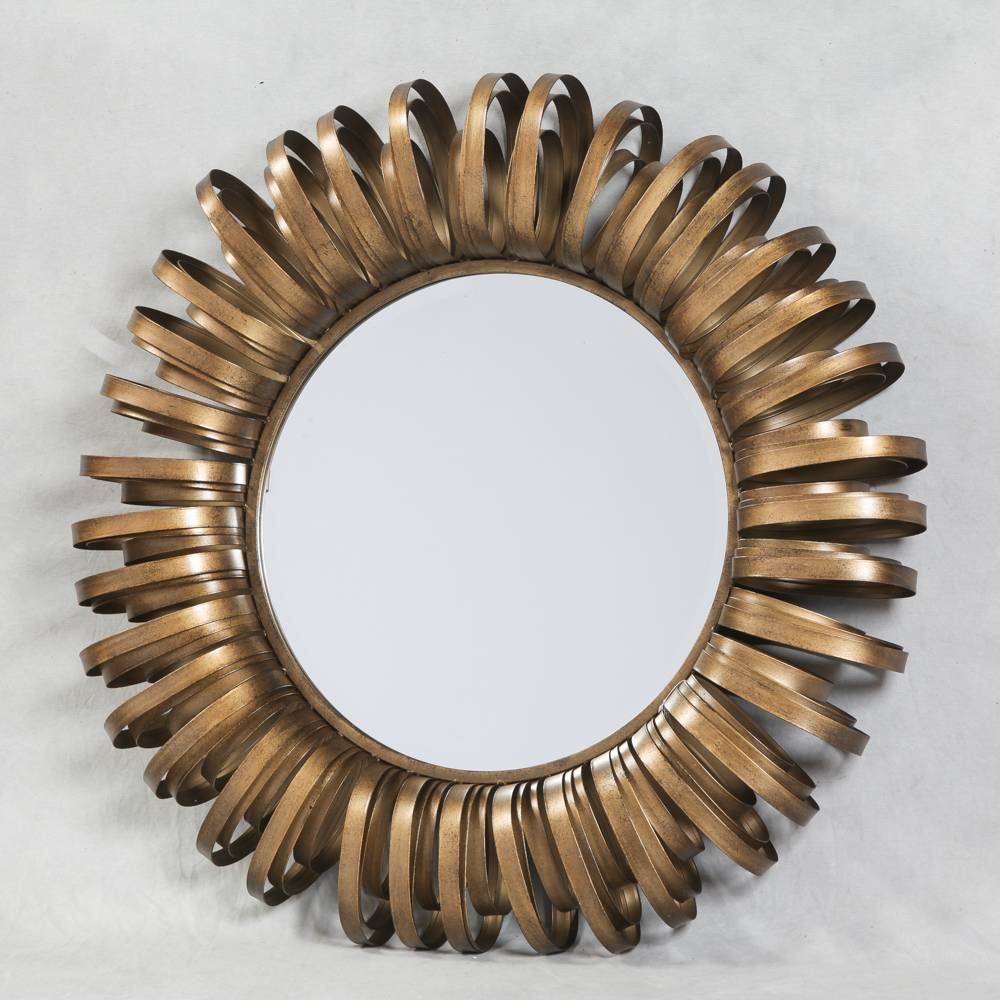 Decor: Gold Antiqued Metal Round Mirror Shabby Chic And French Regarding Shabby Chic Round Mirrors (View 12 of 25)