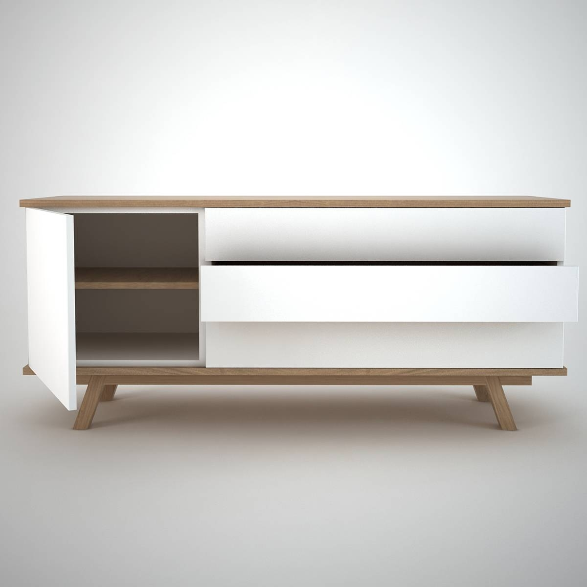 Decor: Oak Wood Modern Sideboard With White And Grey Door Plus regarding White And Wood Sideboards (Image 4 of 30)