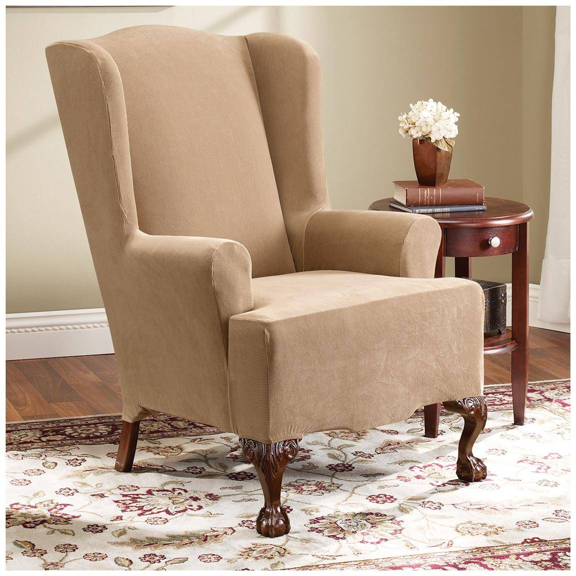 Decor: Pretty Design Of Wingback Chair Covers For Chic Furniture Within Sofa And Chair Covers (View 5 of 30)