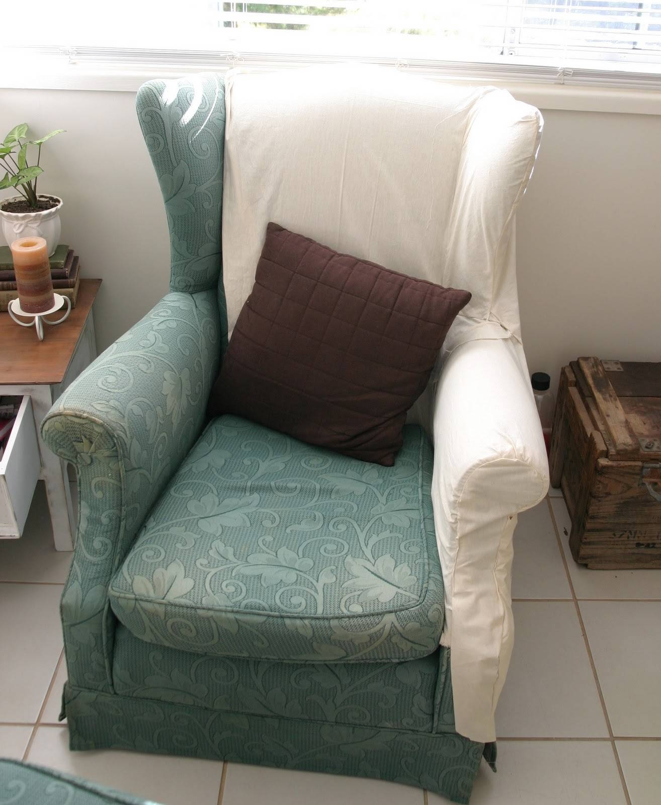 Decor: Pretty Design Of Wingback Chair Covers For Chic Furniture within Sofa and Chair Slipcovers (Image 4 of 15)