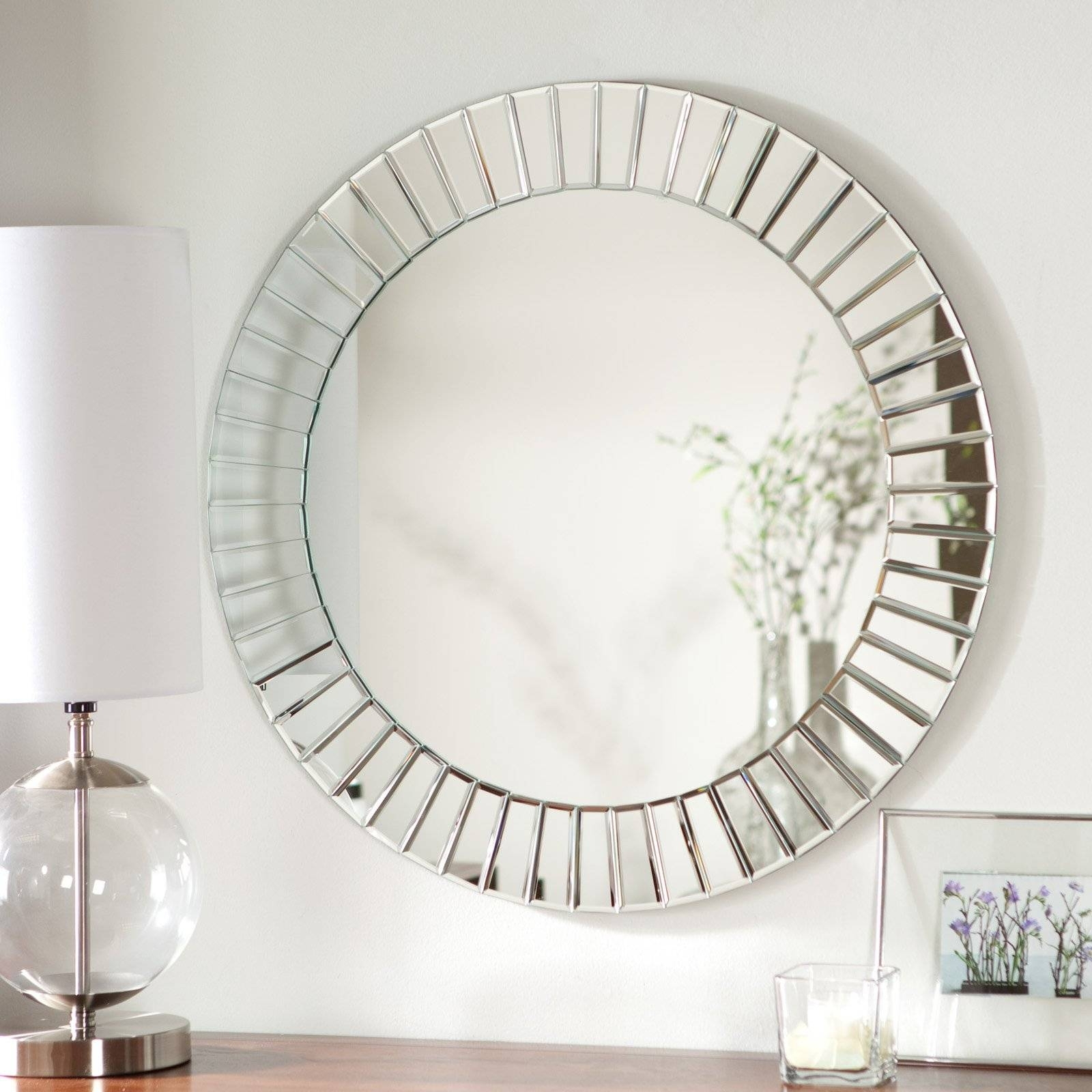Décor Wonderland Fortune Modern Frameless Beveled Wall Mirror pertaining to Round Bevelled Mirrors (Image 6 of 25)