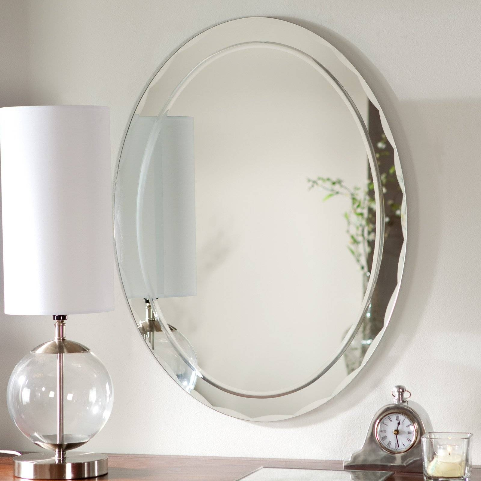 Décor Wonderland Frameless Aldo Wall Mirror - 23.5W X 31.5H In pertaining to Oval Wall Mirrors (Image 7 of 25)