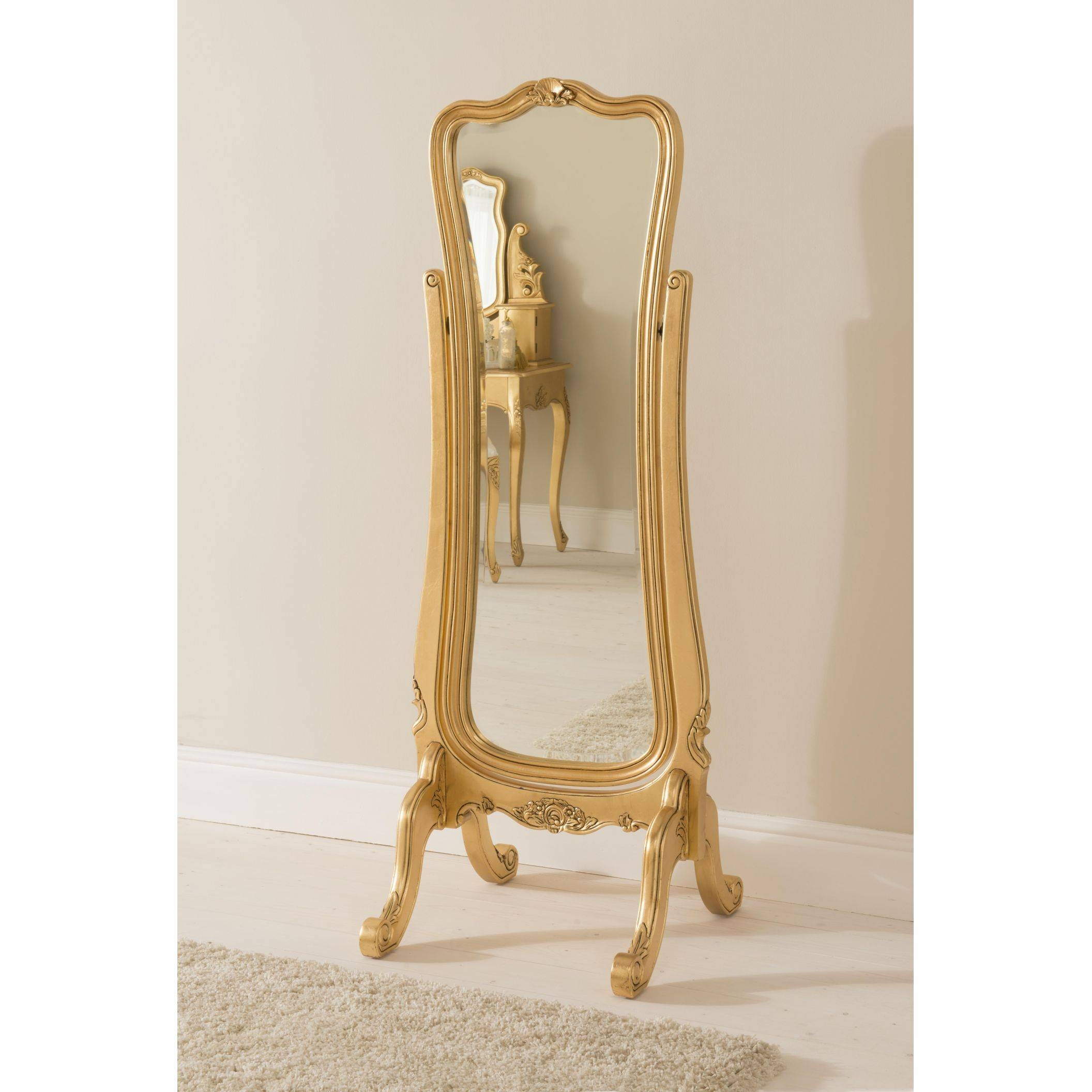 Decorating: Antique Wooden Cheval Mirror With Wooden Floor And intended for French Full Length Mirrors (Image 4 of 25)