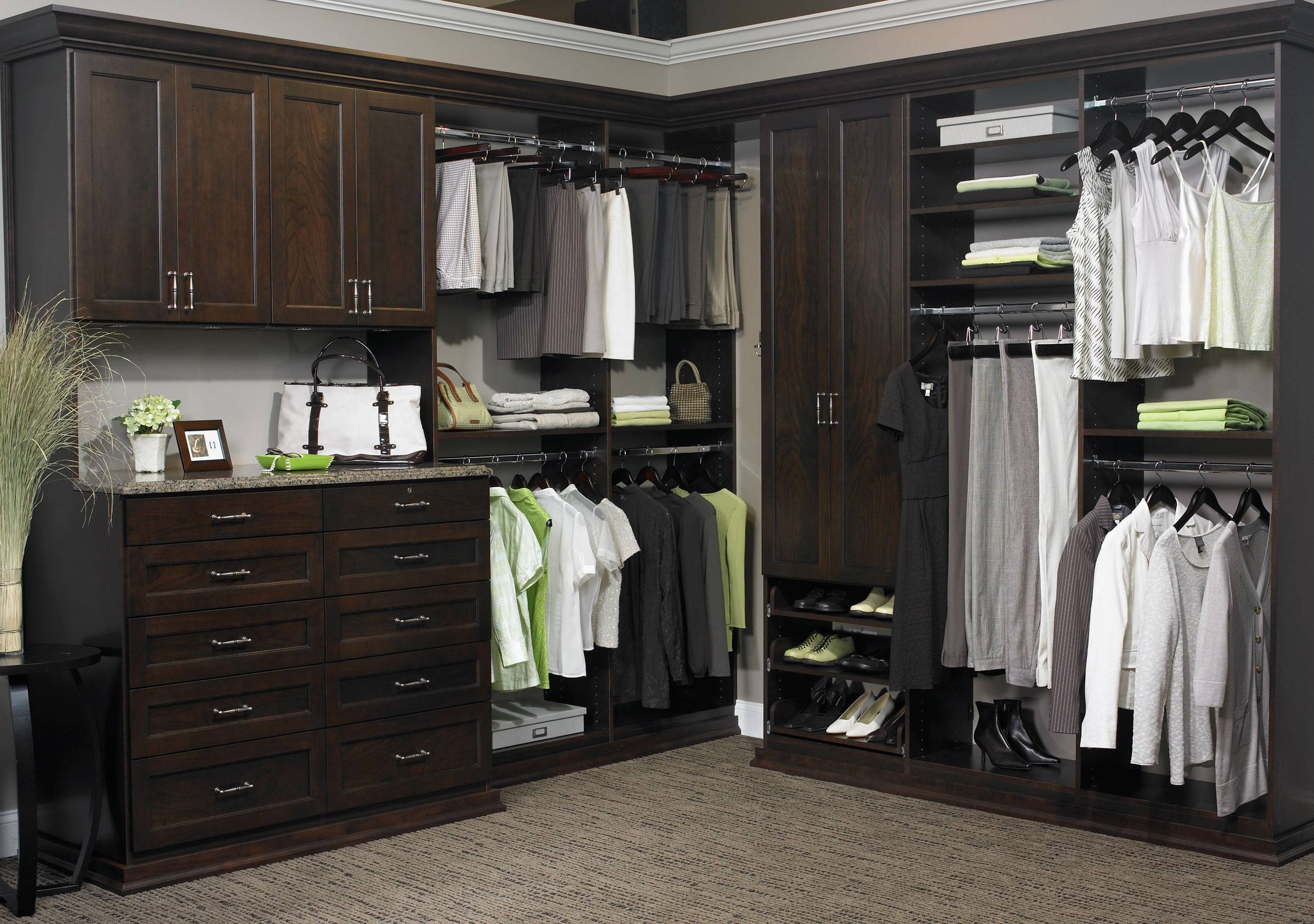 Decorating: Appealing Home Depot Closet Organizer For Home Storage throughout Dark Wood Wardrobe With Drawers (Image 12 of 30)