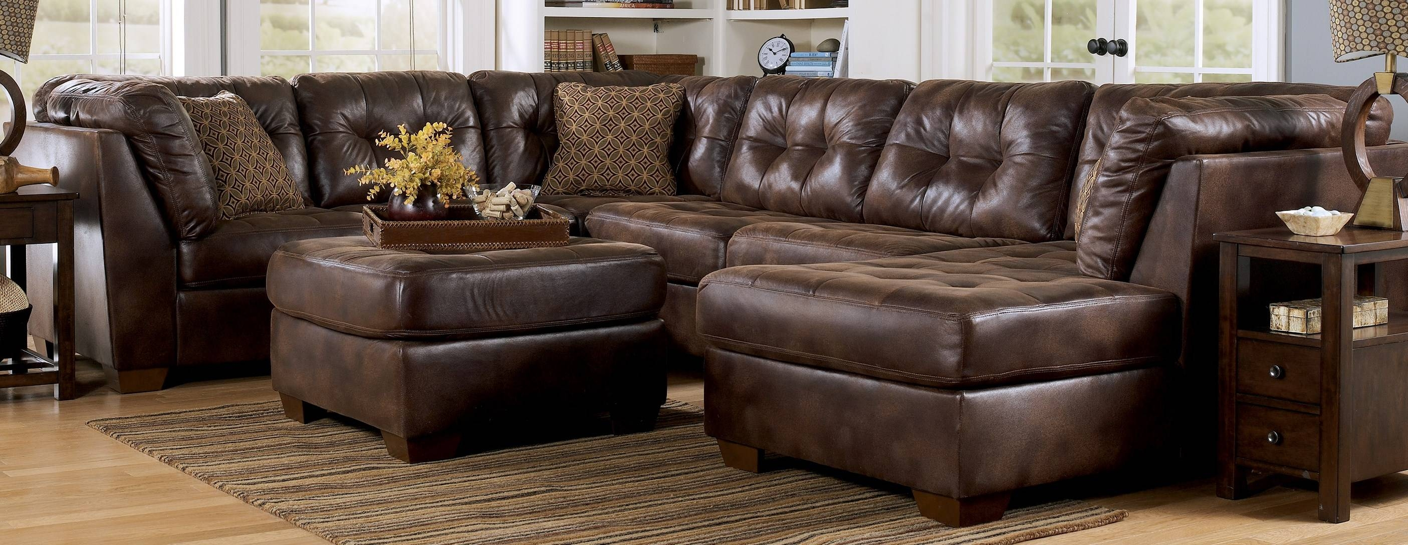 Decorating: Brown Leather Sectional Sleeper Sofa Plus Ottoman On with Sectional Sofa With Oversized Ottoman (Image 2 of 30)