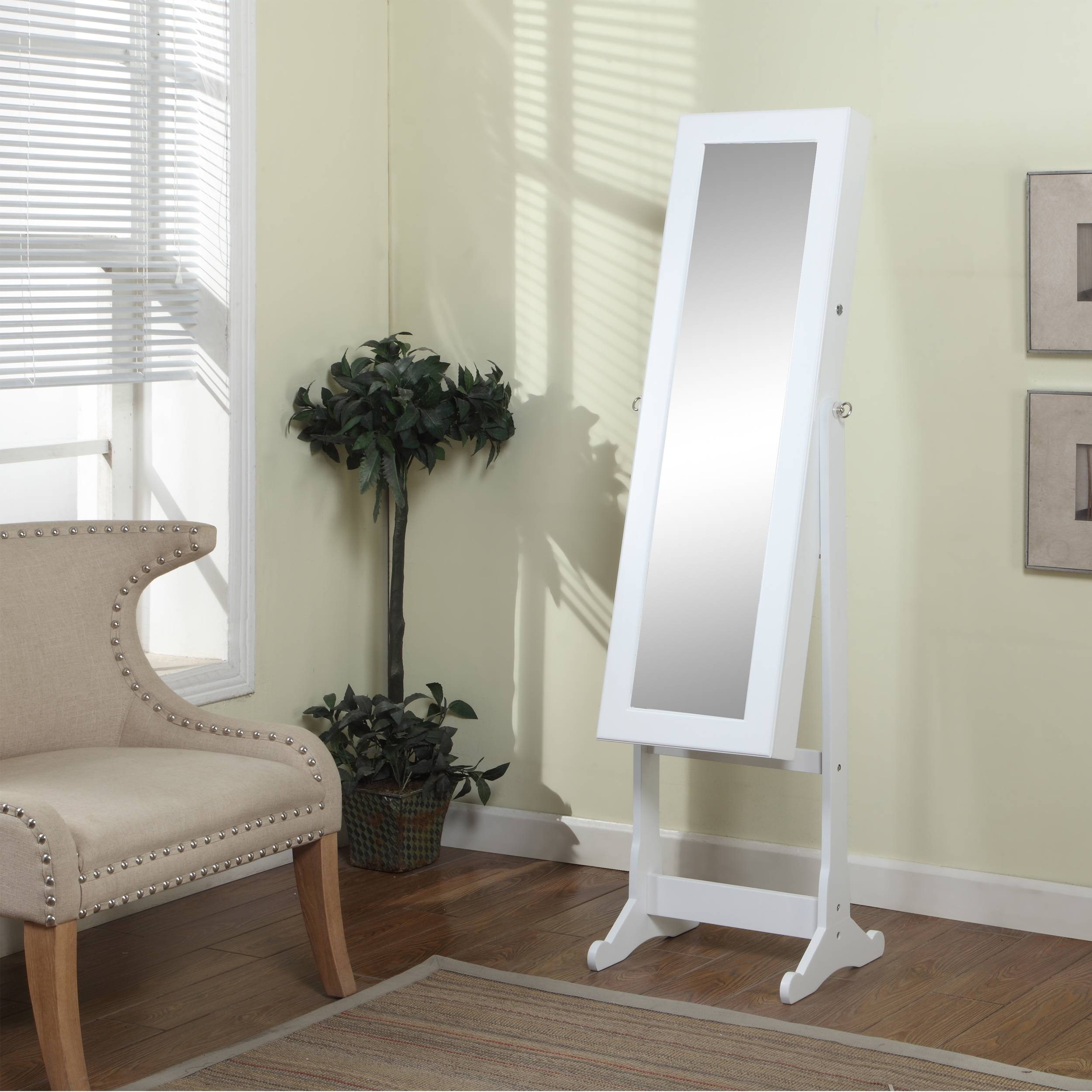 Decorating: Chic Wooden Standing Mirror Jewelry Armoire In White within Cream Standing Mirrors (Image 9 of 25)