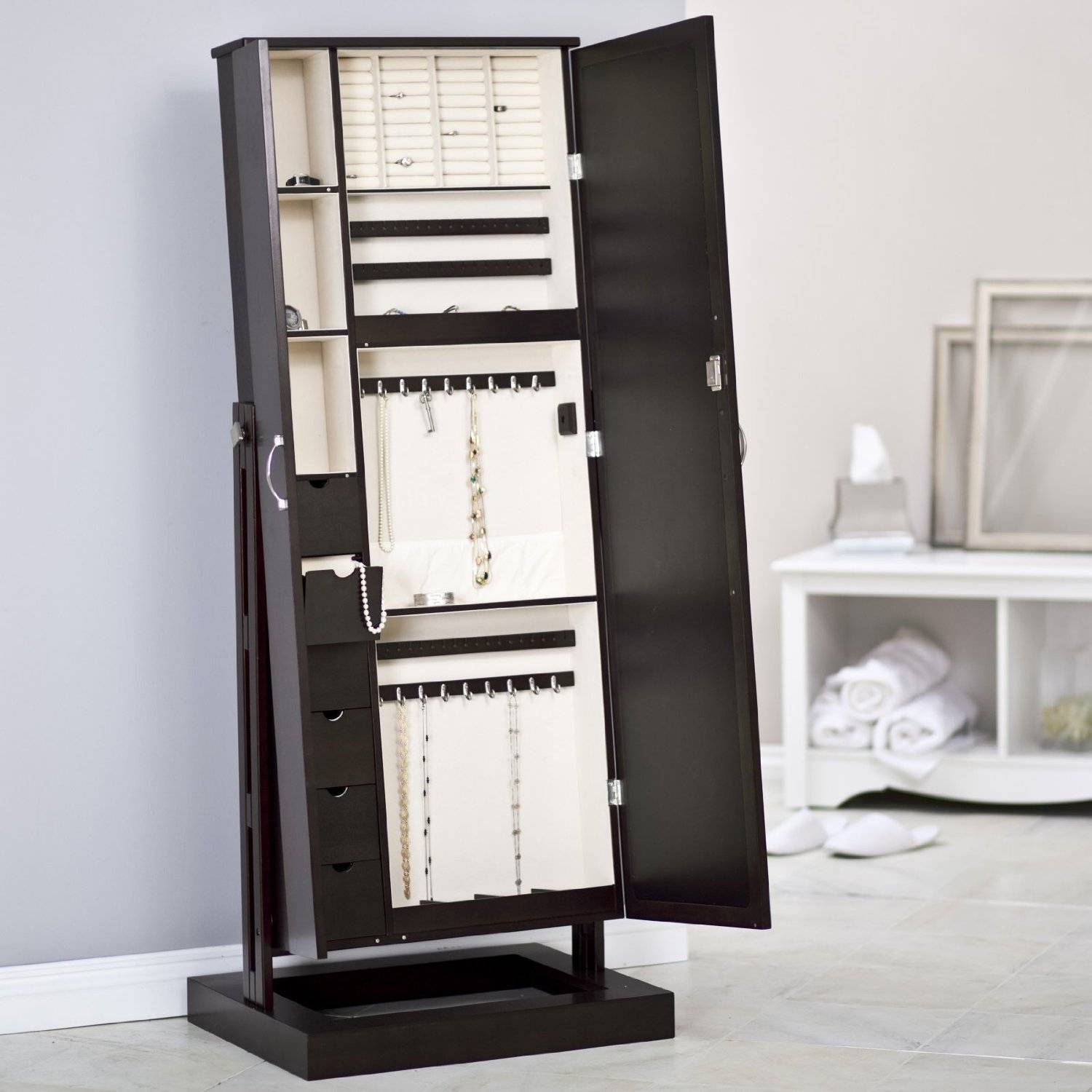 Decorating: Fancy Wooden Standing Mirror Jewelry Armoire In Black with regard to Free Standing Mirrors With Drawer (Image 13 of 25)
