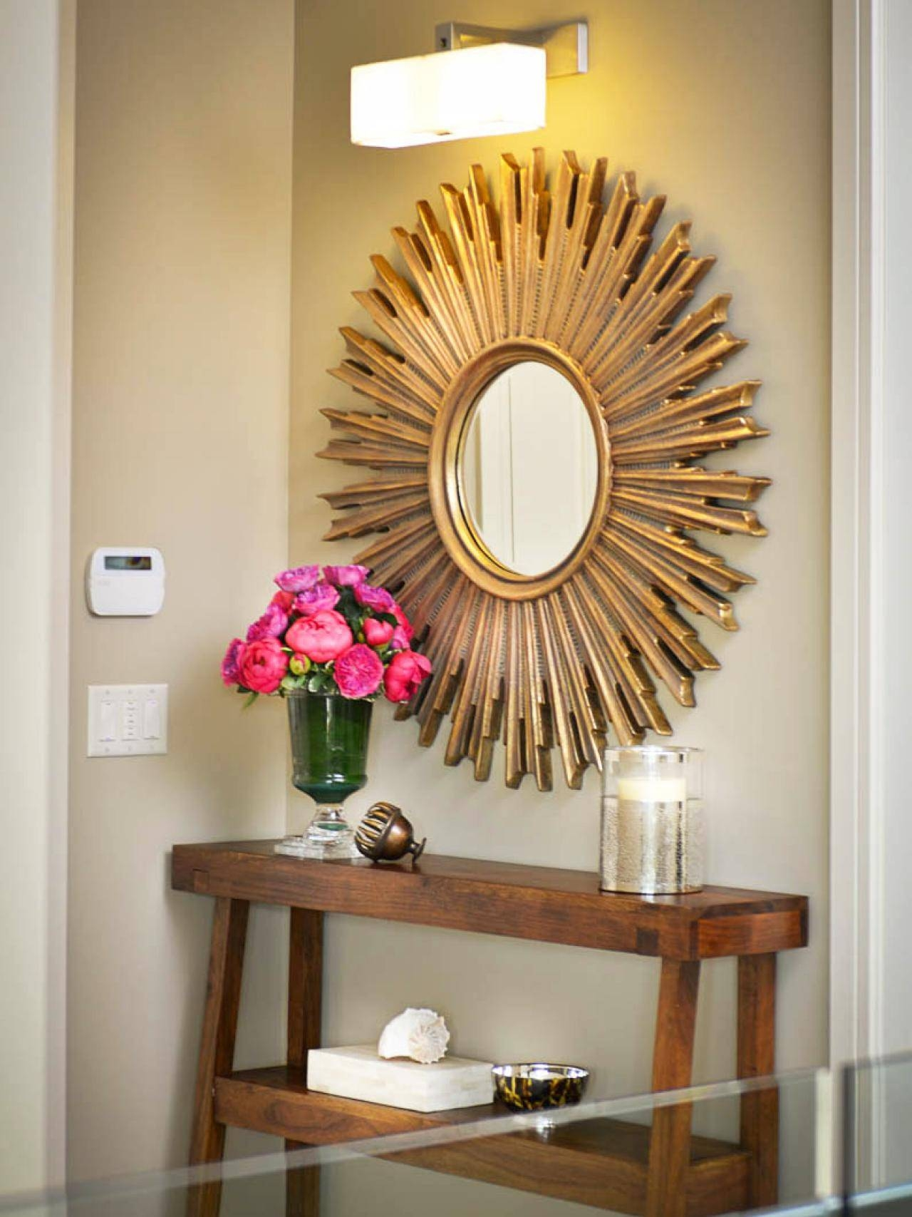Decorating: Gold Sunburst Mirror With Cool Table Lamp And White intended for Gold Table Mirrors (Image 10 of 25)
