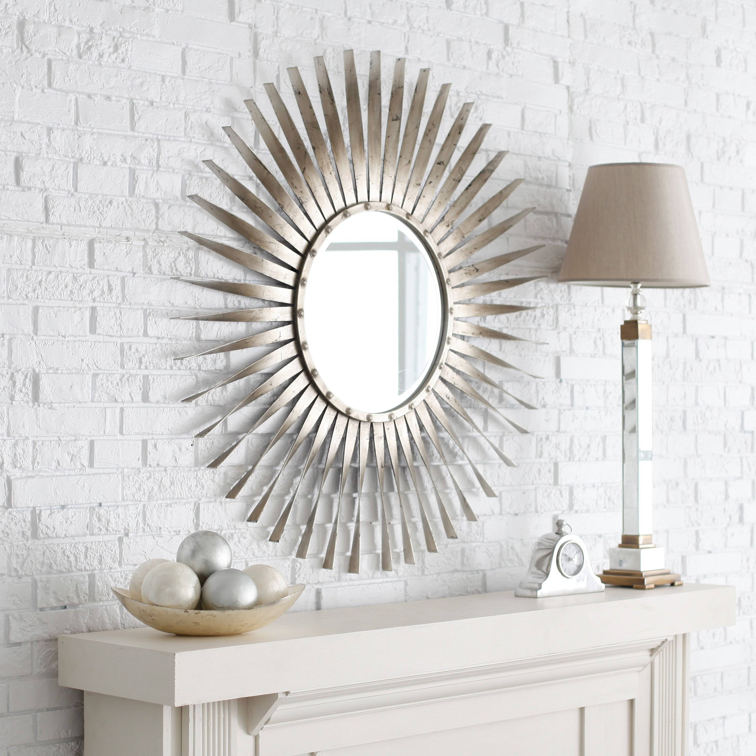 Decorating: Gold Sunburst Mirror With Small Circle Mirror For Wall inside Large Sunburst Mirrors (Image 3 of 25)