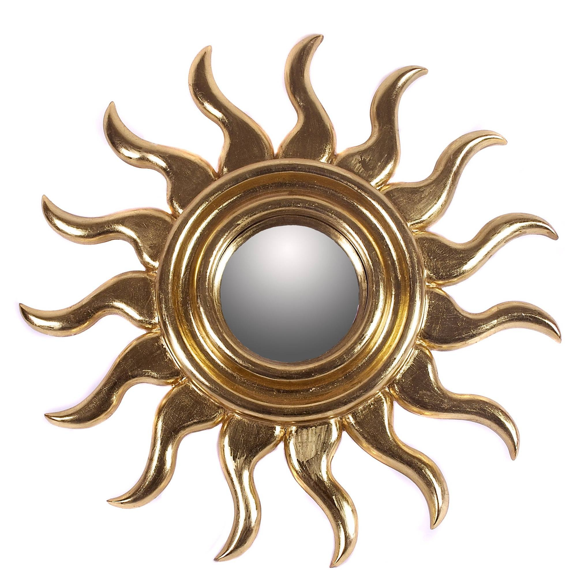 Decorating: Gold Sunburst Mirror With Small Circle Mirror For Wall regarding Small Gold Mirrors (Image 9 of 25)