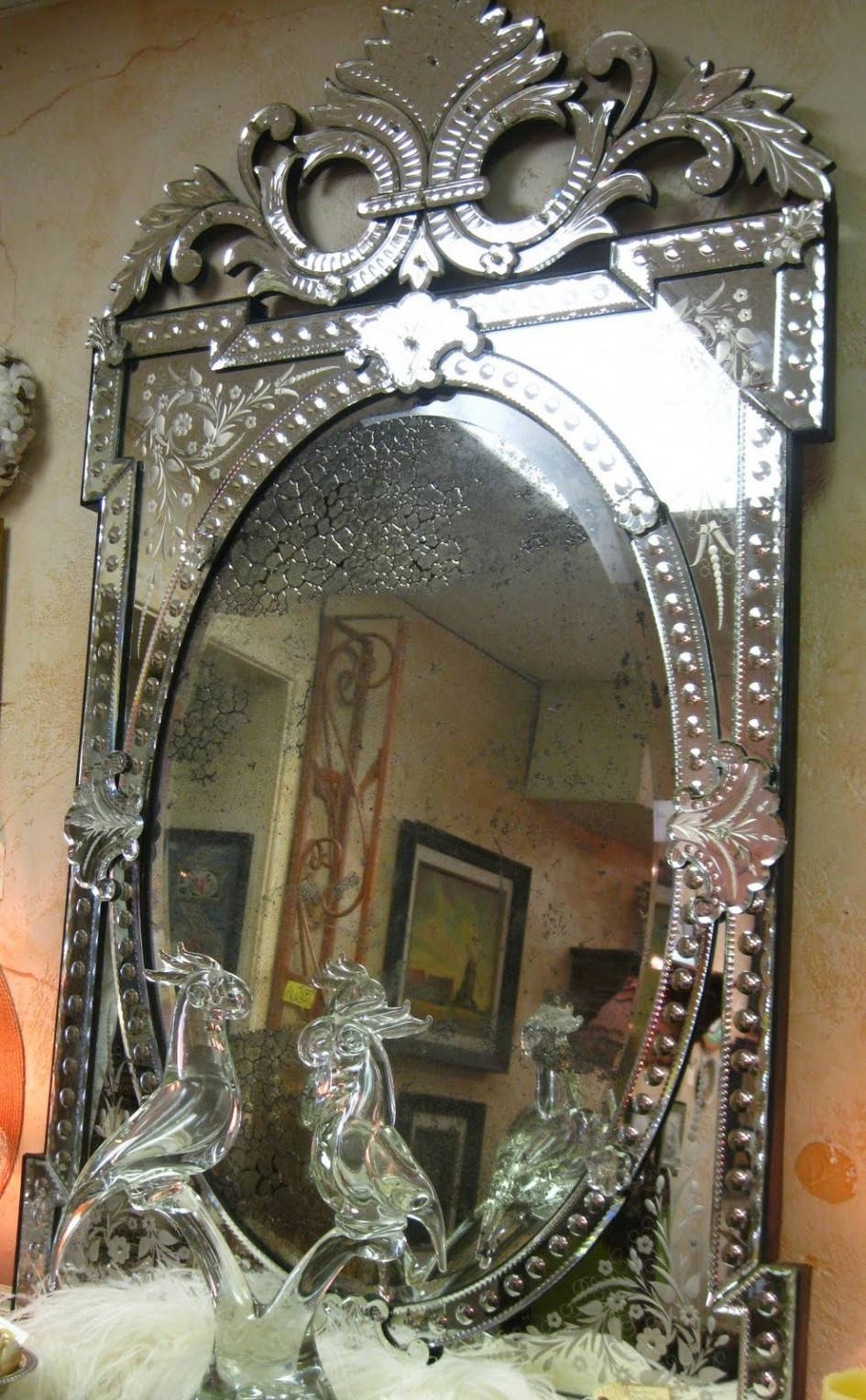 Decorating Ideas: Stunning Image Of Vintage Etched Glass Antique throughout Antique Venetian Glass Mirrors (Image 20 of 25)
