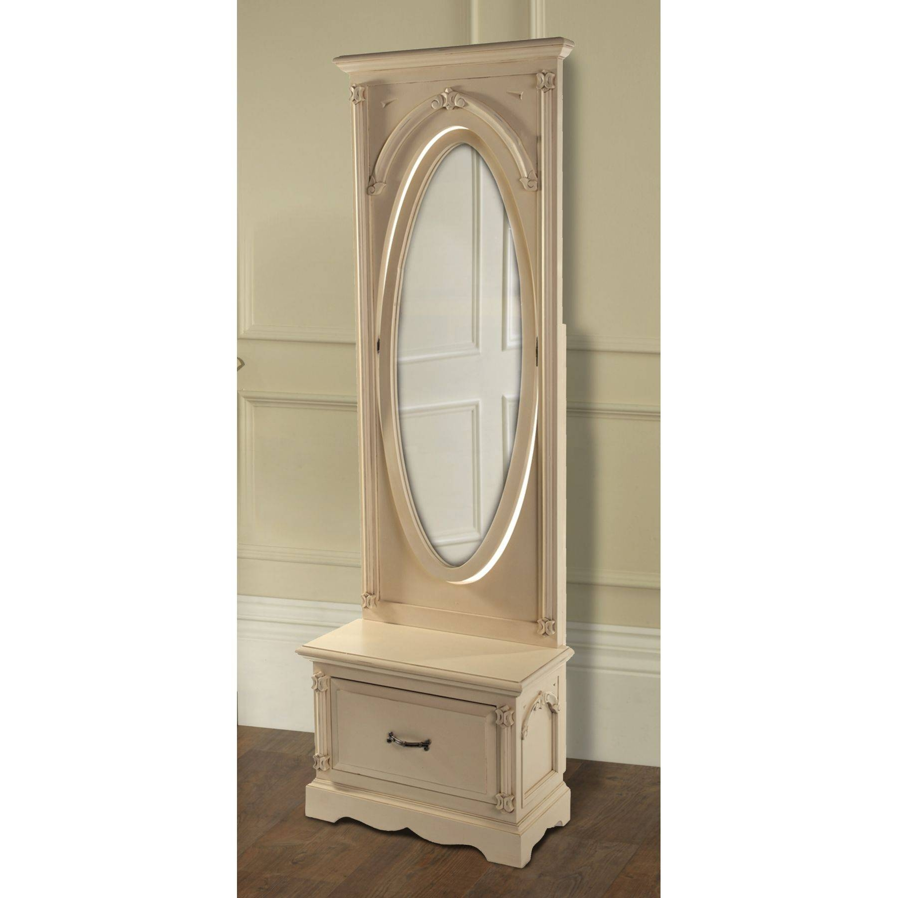 Decorating: Nostalgic Oak Cheval Mirror With Wooden Floor And regarding Full Length Free Standing Mirrors With Drawer (Image 8 of 25)