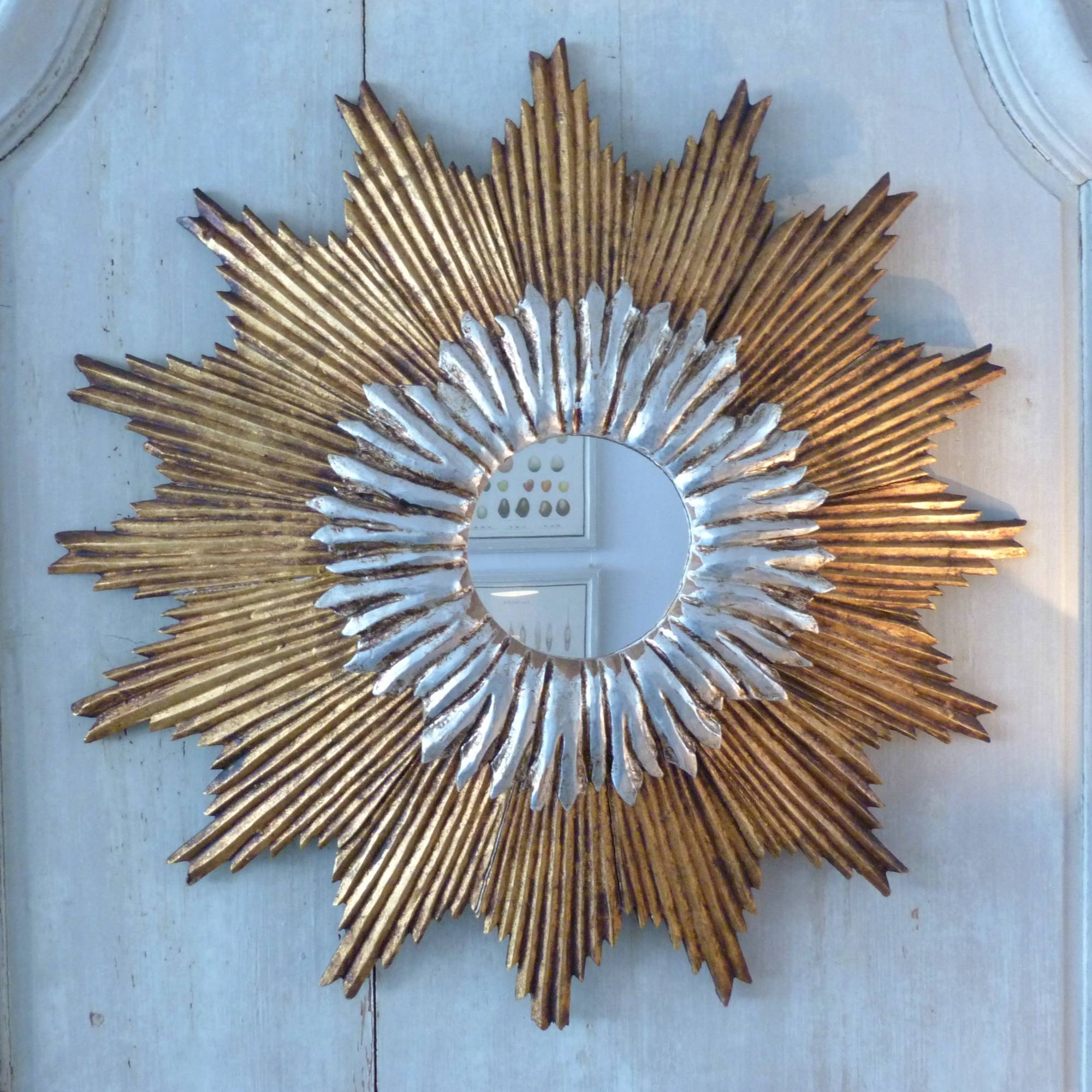 Decorating: Round Gold Sunburst Mirror For Pretty Wall Decoration for Large Sunburst Mirrors (Image 7 of 25)