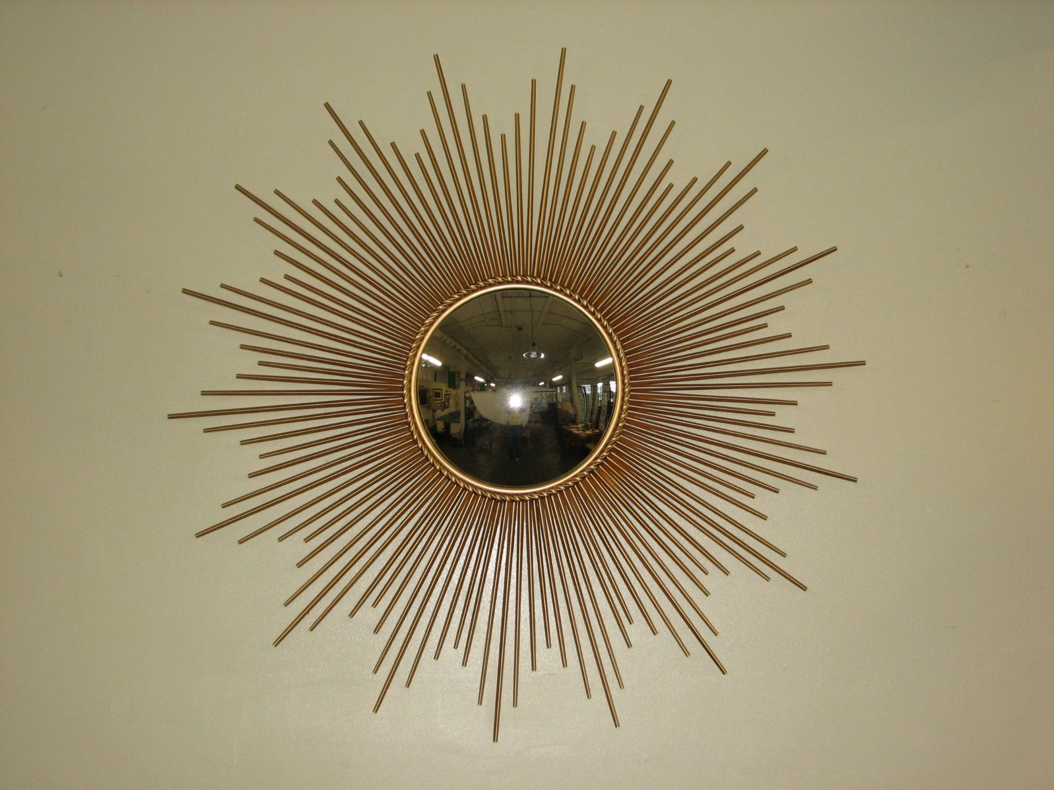 Decorating: Round Gold Sunburst Mirror For Pretty Wall Decoration with regard to Bronze Starburst Mirrors (Image 10 of 25)
