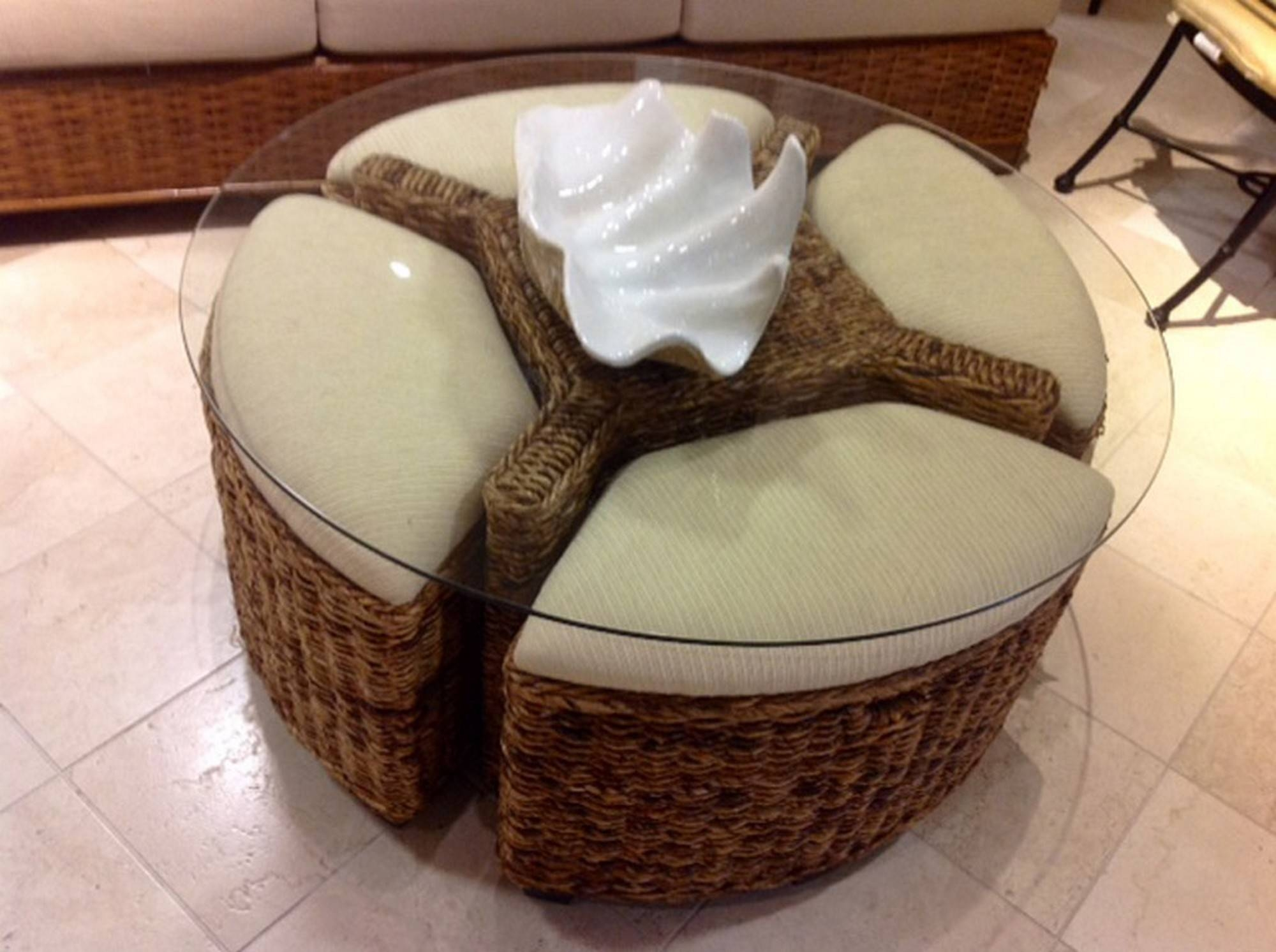Decorating: Sophisticated Rattan Ottoman For Home Inspirations throughout Round Woven Coffee Tables (Image 11 of 30)