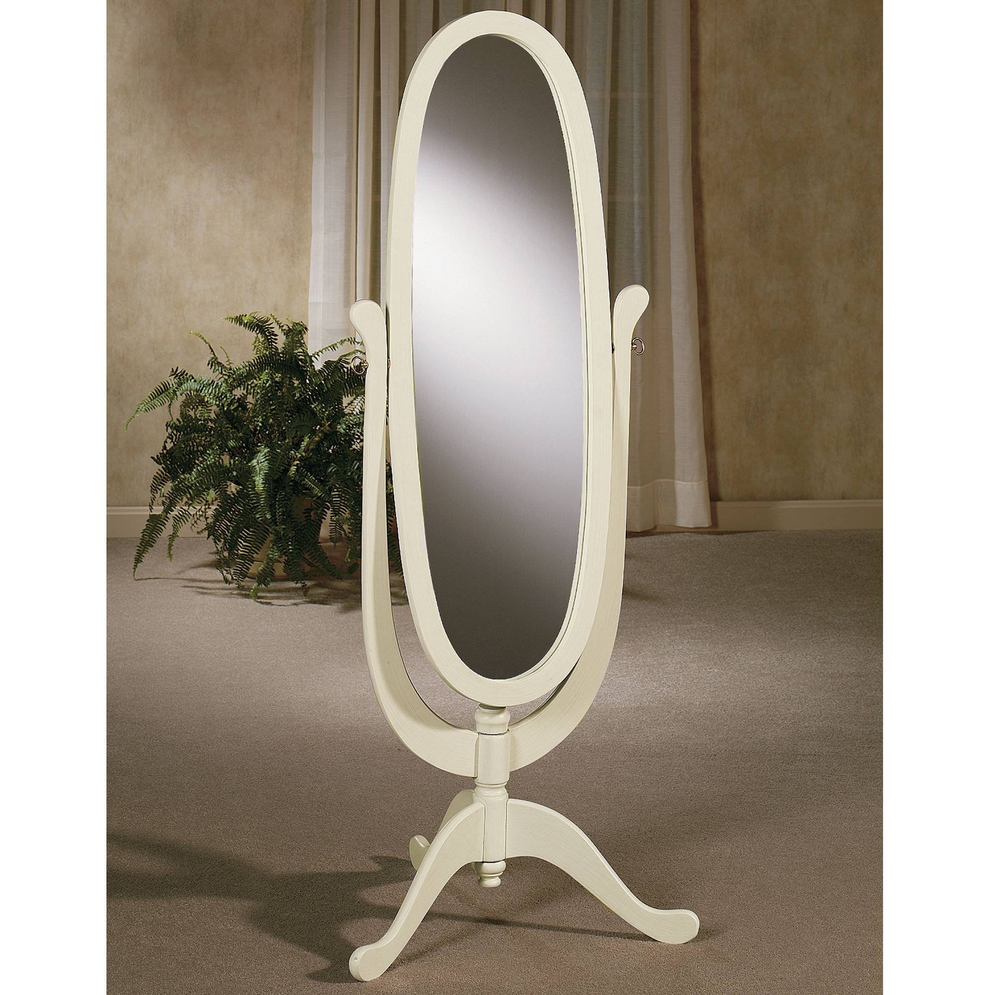 Decorating: Wooden White Cheval Mirror With Wooden Floor And Vase intended for Free Standing Oval Mirrors (Image 10 of 25)