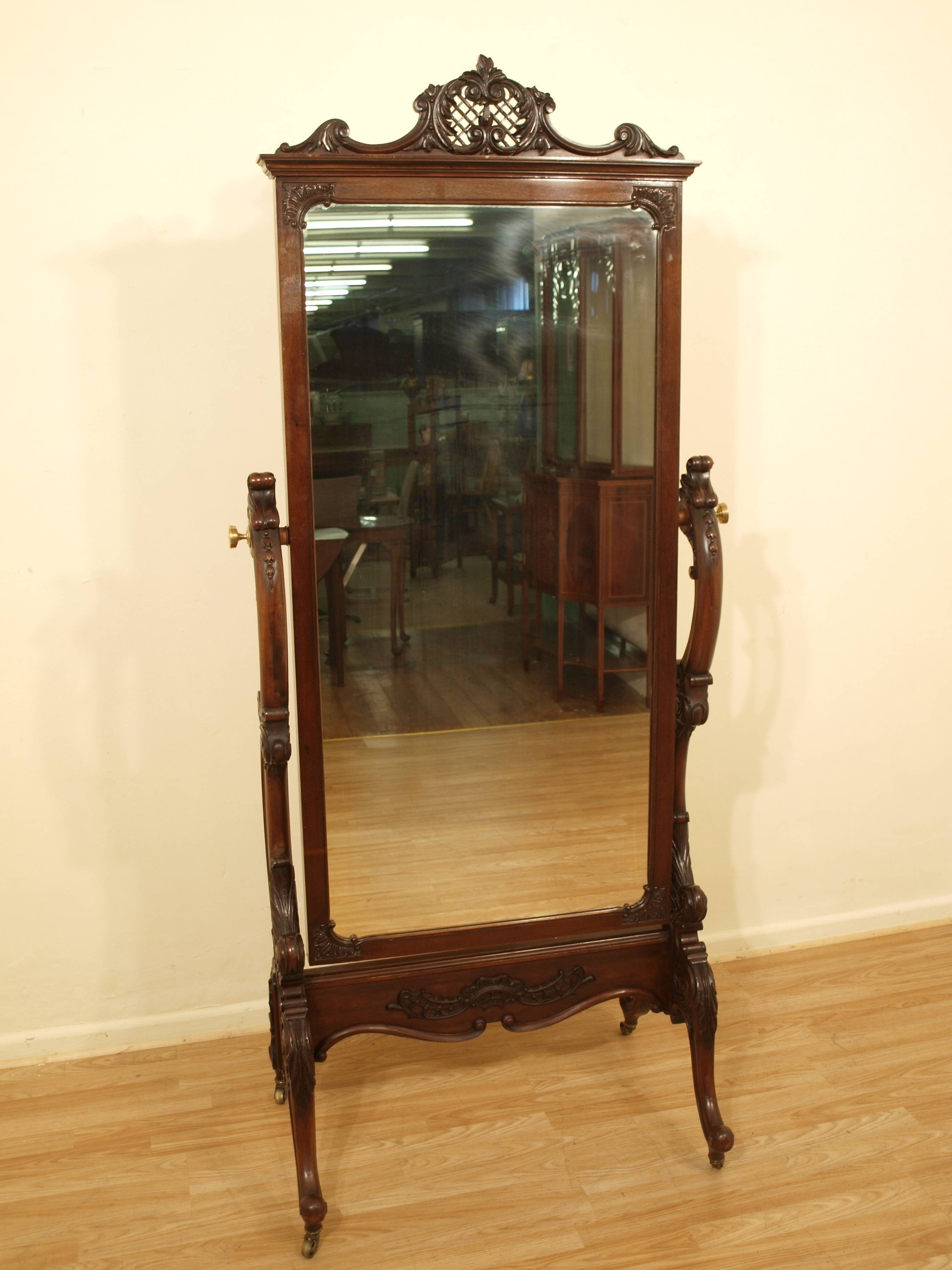 Decorating: Wrought Iron Cheval Mirror With Wooden Floor And Cream in Wrought Iron Full Length Mirrors (Image 7 of 25)