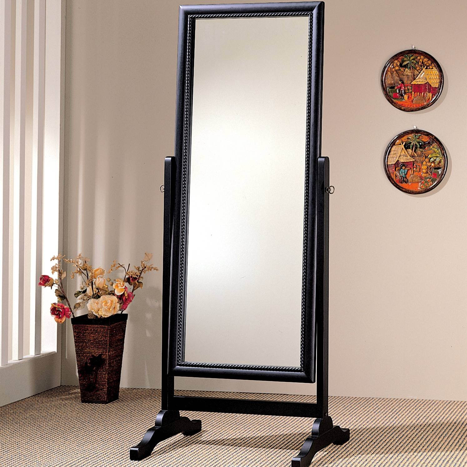 Decorating: Wrought Iron Cheval Mirror With Wooden Floor And regarding Wrought Iron Full Length Mirrors (Image 8 of 25)