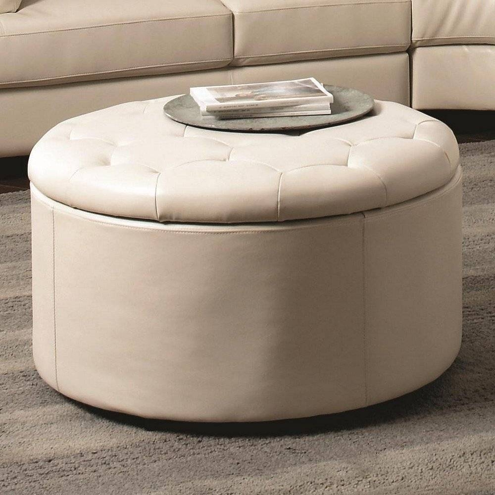 Decoration Round Leather Ottoman Coffee Table Designs Idea for Round Coffee Tables With Storage (Image 14 of 30)