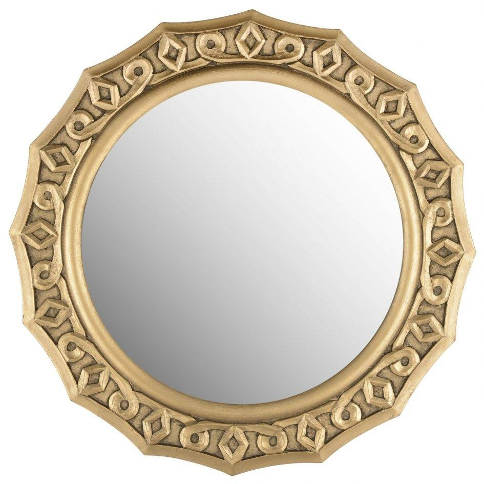 Decorations. Attractive Safavieh Compass Point Wall Mirrors: Round in Gold Round Mirrors (Image 7 of 25)