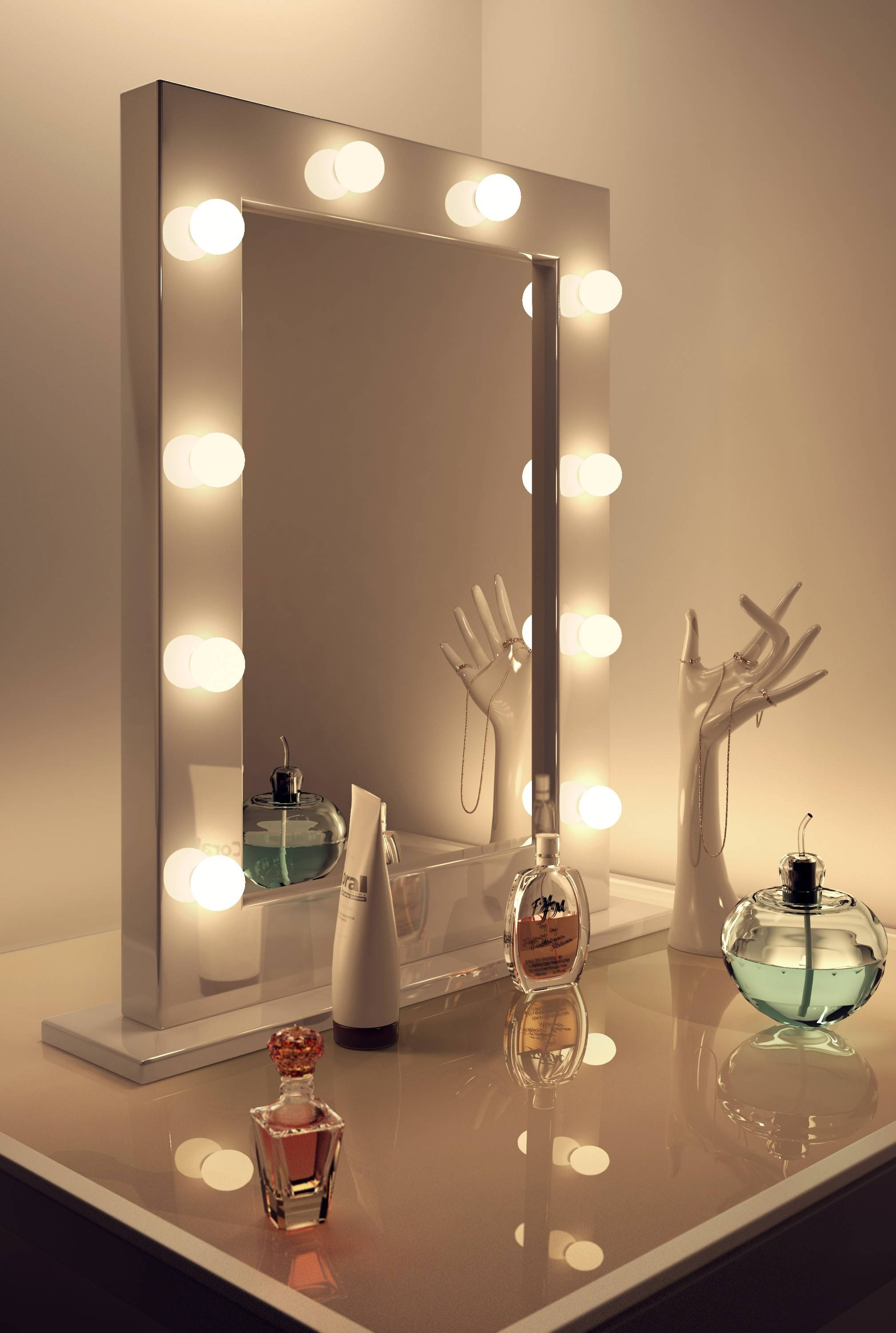 Decorations : Excellent Squre Mirrors With White Light Bulbs And inside Cream Standing Mirrors (Image 10 of 25)