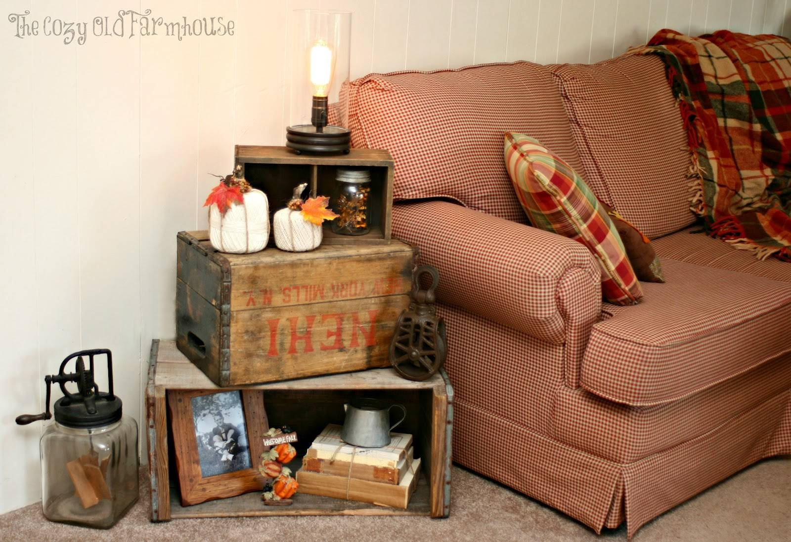 Decorations : Rustic Stacked Chest And Box With Fall Decoration throughout Rustic Christmas Coffee Table Decors (Image 17 of 30)