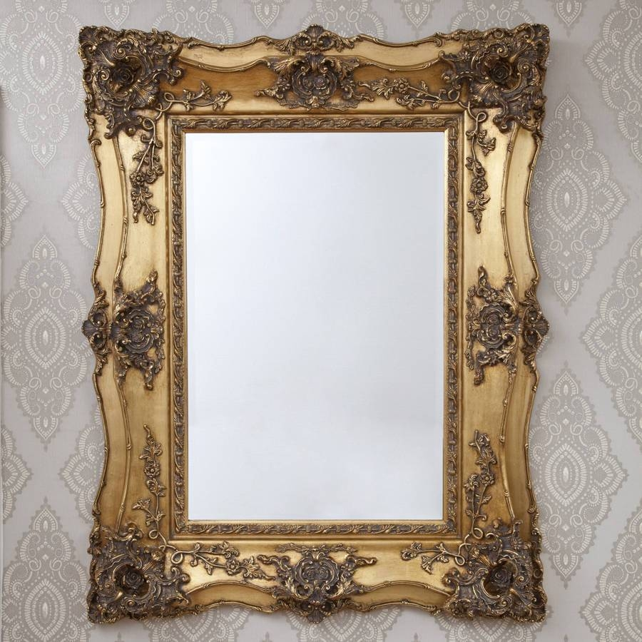 Decorative Gold Mirrors. Gold Decorative Framed Bevelled Wall throughout Gold Ornate Mirrors (Image 6 of 25)
