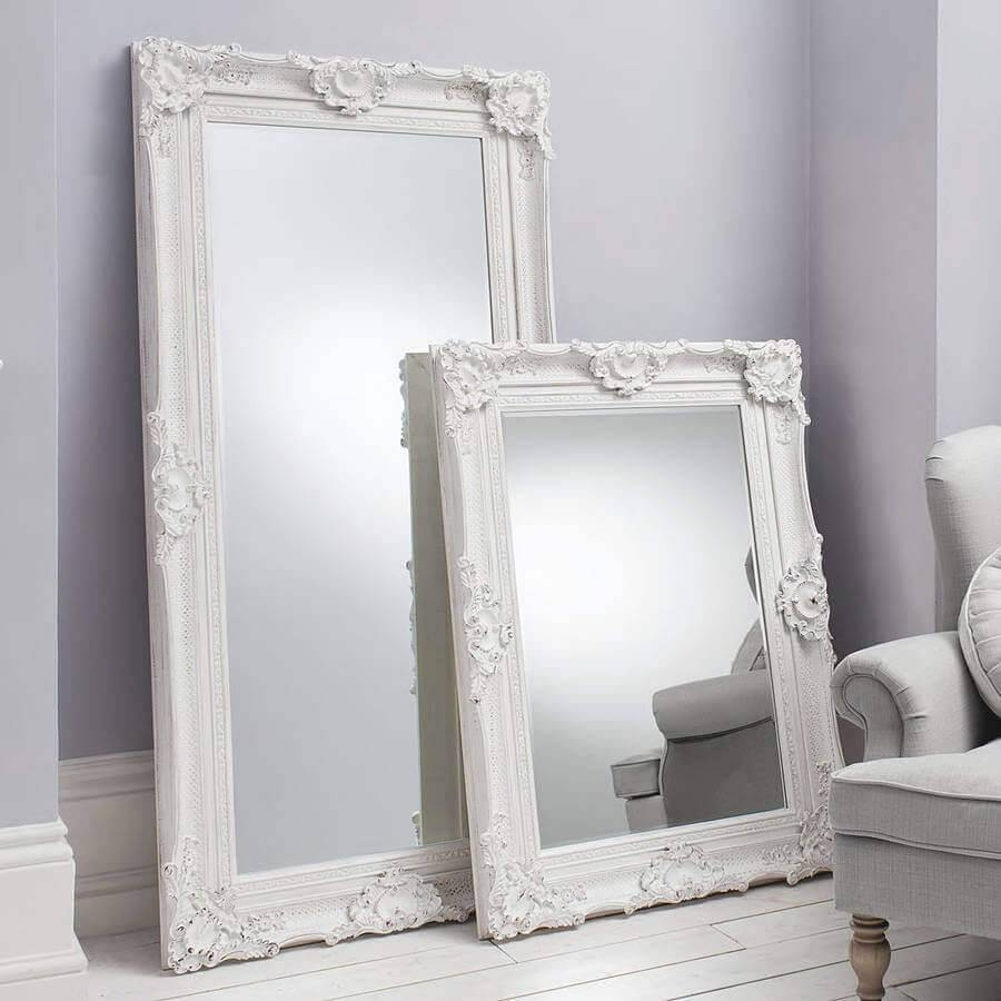 Decorative Ornate Mirrors : Wall Vs Floor, Which One Better for Large White Ornate Mirrors (Image 5 of 25)