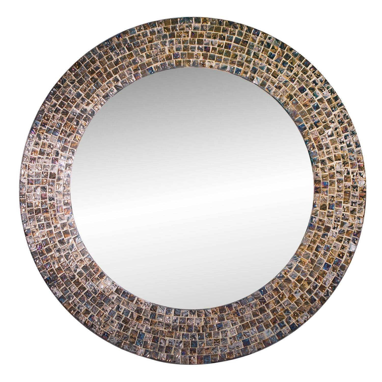 "Decorshore 20"" Jewel Tone Accent Mirror, Round Decorative Wall regarding Mosaic Wall Mirrors (Image 10 of 25)"