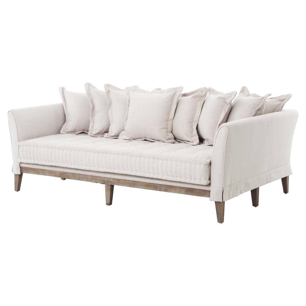 Dedon French Country Coastal Style Light Sand Sofa   Kathy Kuo Home pertaining to French Style Sofa (Image 4 of 25)