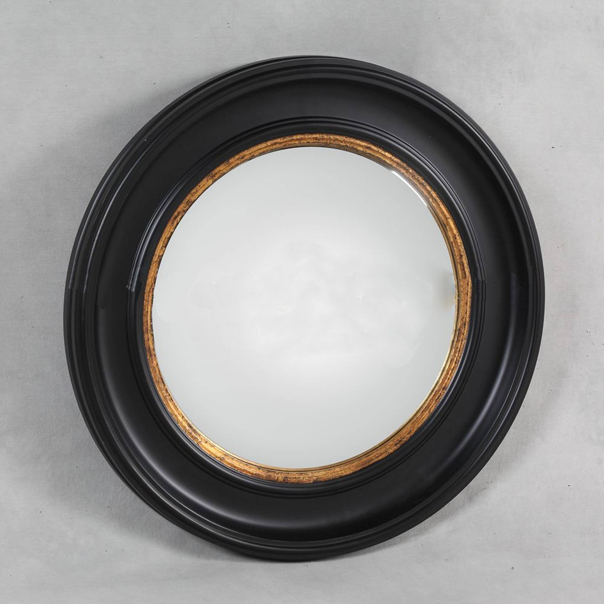 Deep Black Framed Convex Mirror | Decorative Coloured Mirrors in Black Convex Mirrors (Image 4 of 25)