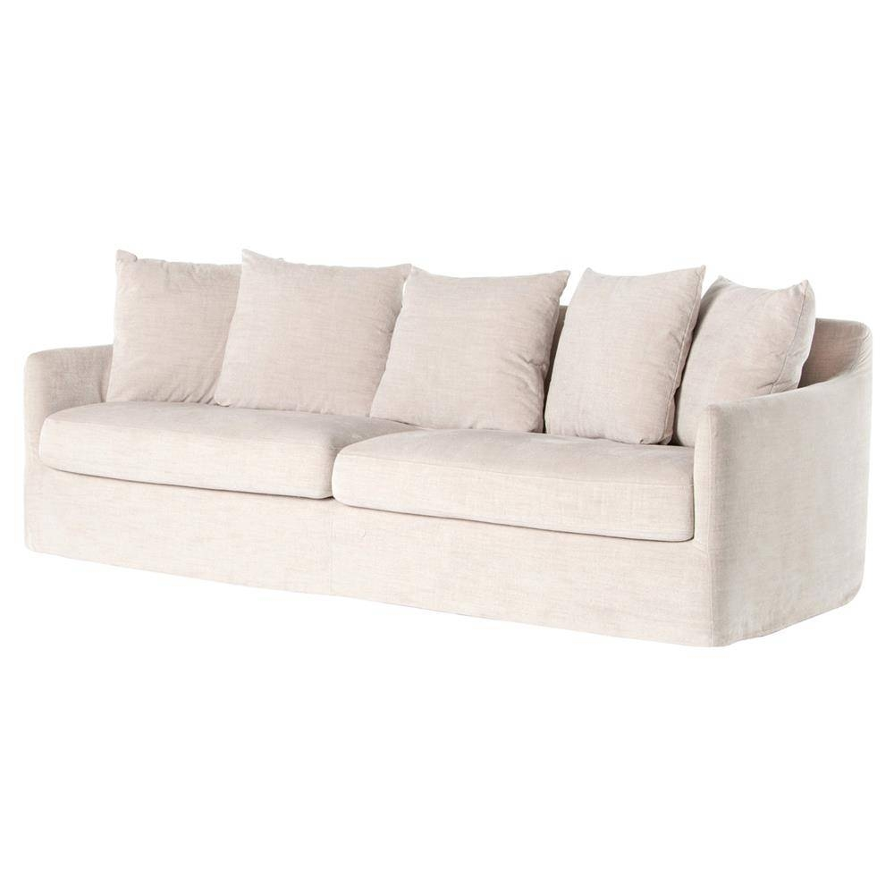 Delphina Coastal Ivory Slipcover Rounded Sofa | Kathy Kuo Home with regard to Rounded Sofa (Image 6 of 25)