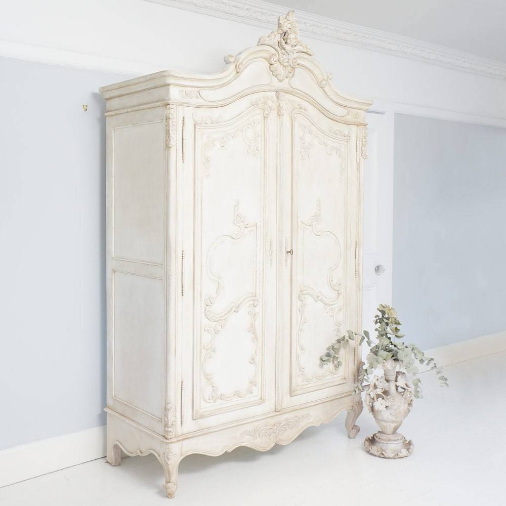 Delphine Distressed Shabby Chic Armoire in French Armoire Wardrobes (Image 4 of 15)