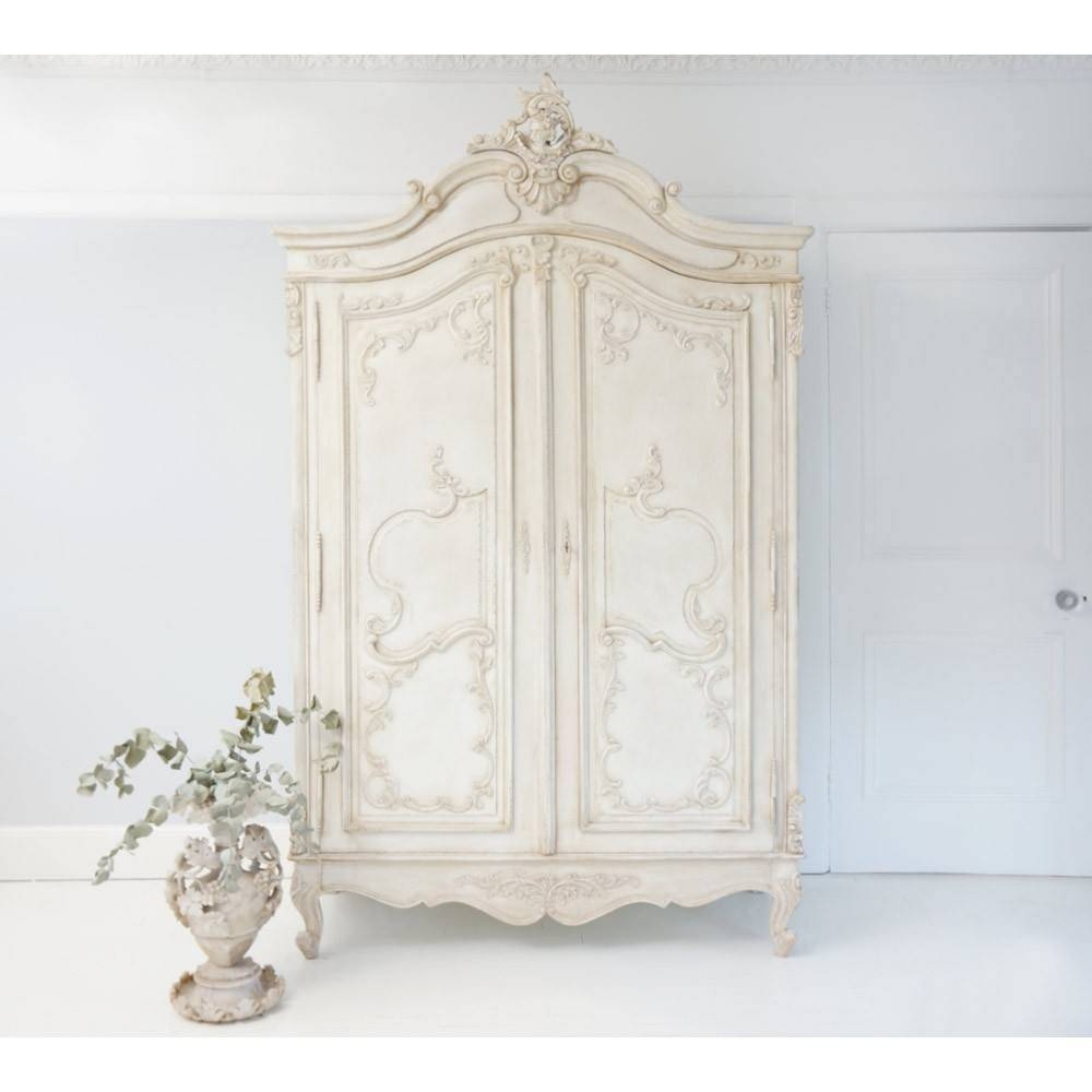 Delphine Distressed Shabby Chic Armoire with regard to White Shabby Chic Wardrobes (Image 2 of 15)