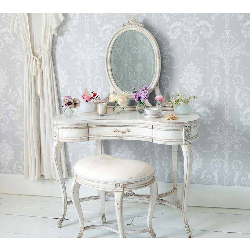 Delphine Distressed Shabby Chic Dressing Table Pertaining To French Shabby Chic Wardrobes (View 6 of 15)