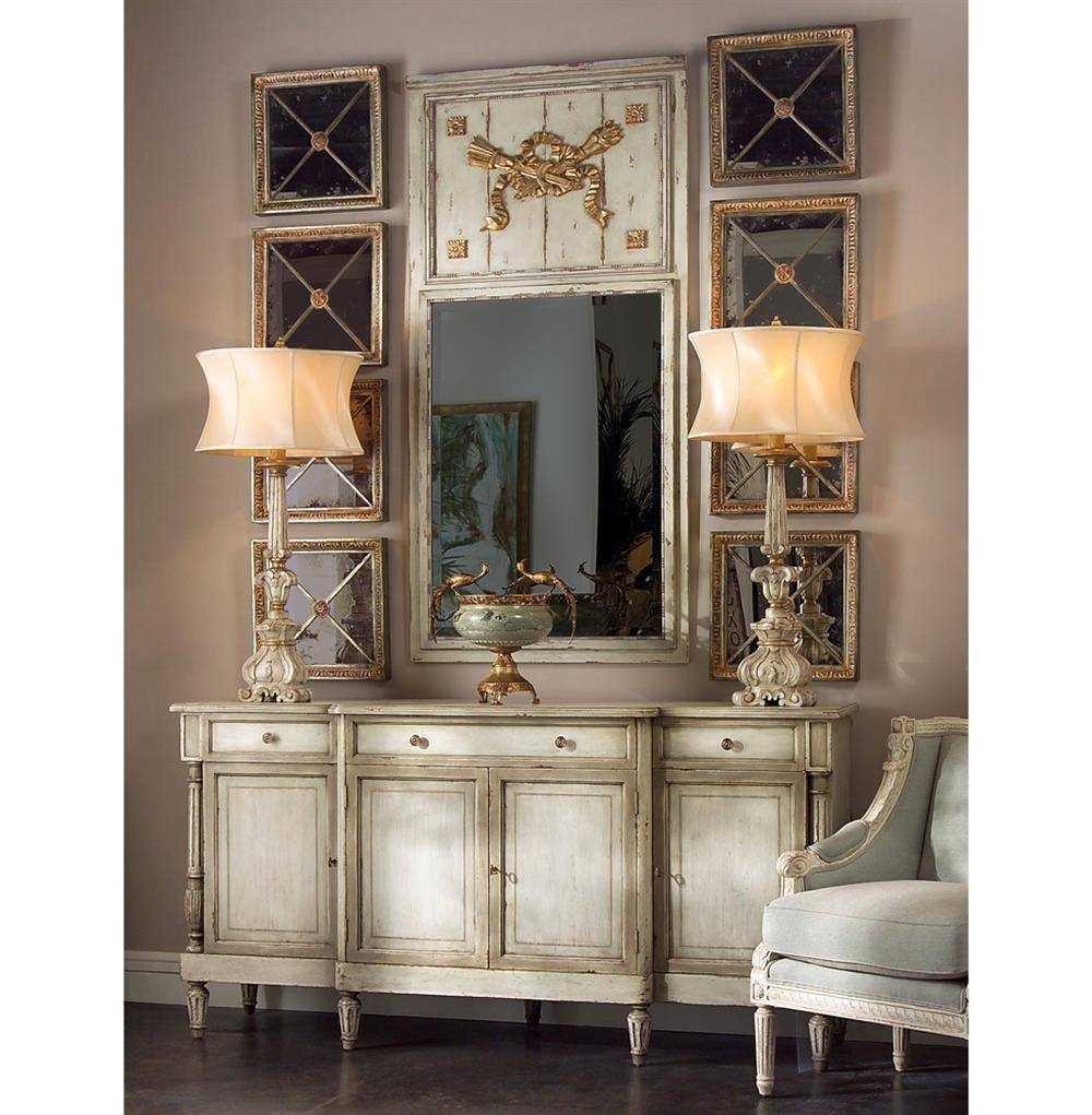 Delphine French Country Two Tone Antique Taupe Grey Sideboard throughout Grey Sideboards (Image 6 of 30)