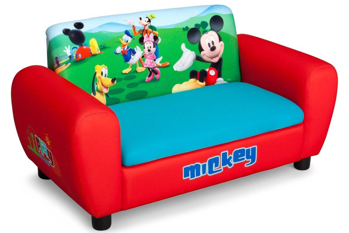 Delta Children Disney Mickey Mouse Kids Sofa & Reviews | Wayfair inside Kids Sofa Chair and Ottoman Set Zebra (Image 8 of 30)