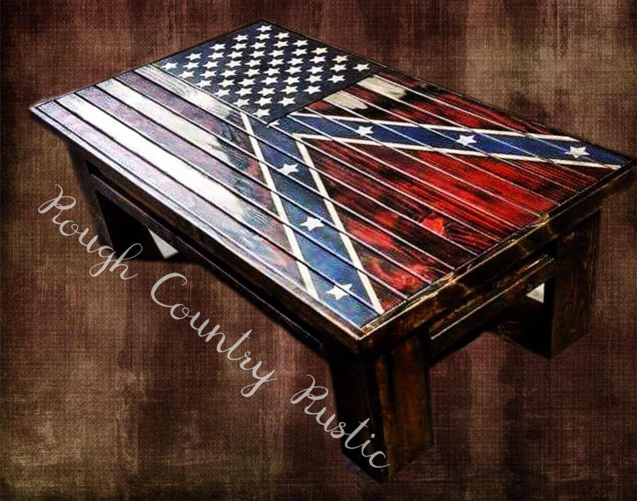 Deluxe Home Defense Coffee Table ( Charred American Flag With Torn pertaining to Heritage Coffee Tables (Image 13 of 30)