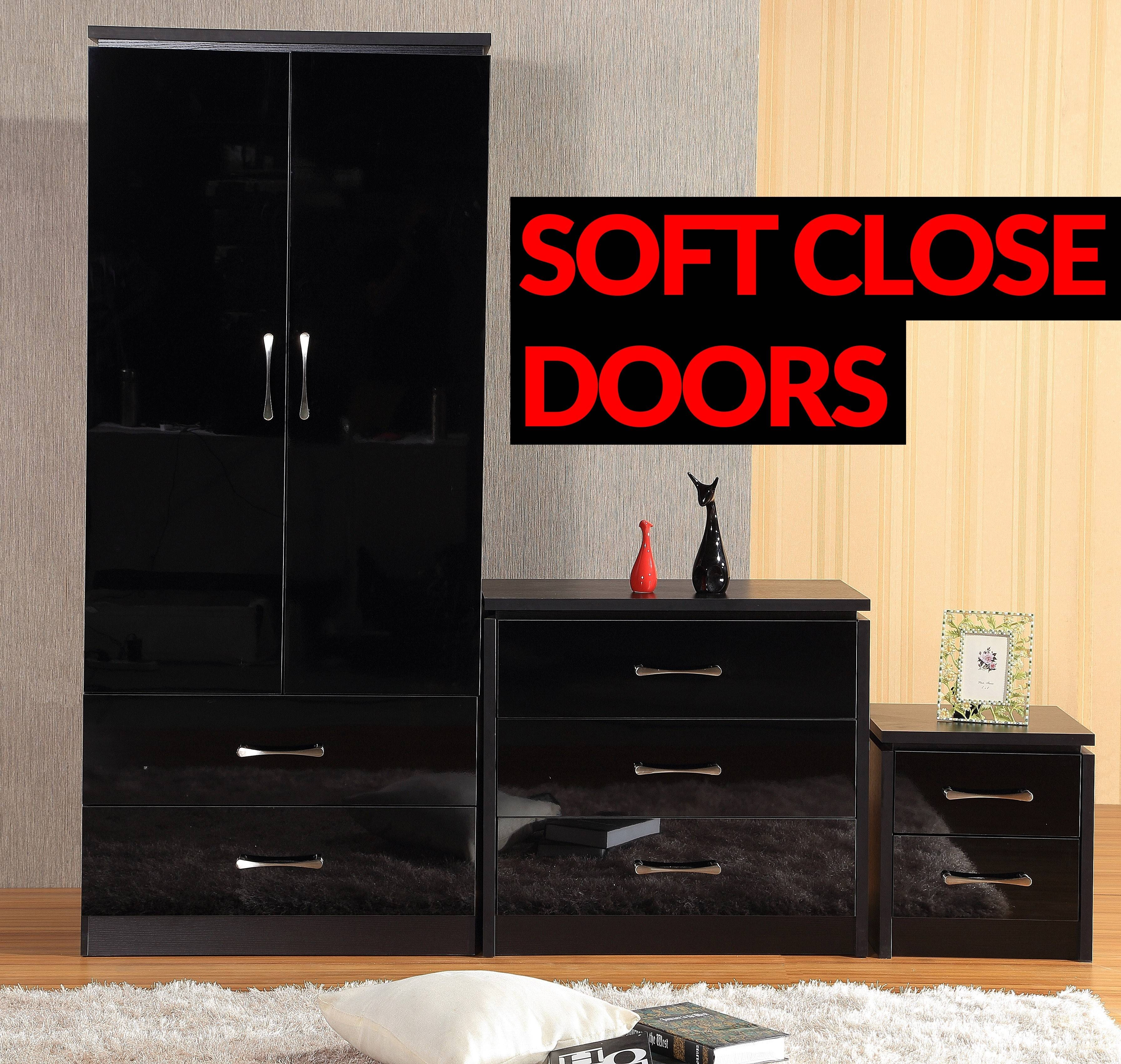 Delvito Modern High Gloss 3 Piece Furniture Set - Wardrobe Chest throughout Black High Gloss Wardrobes (Image 5 of 15)
