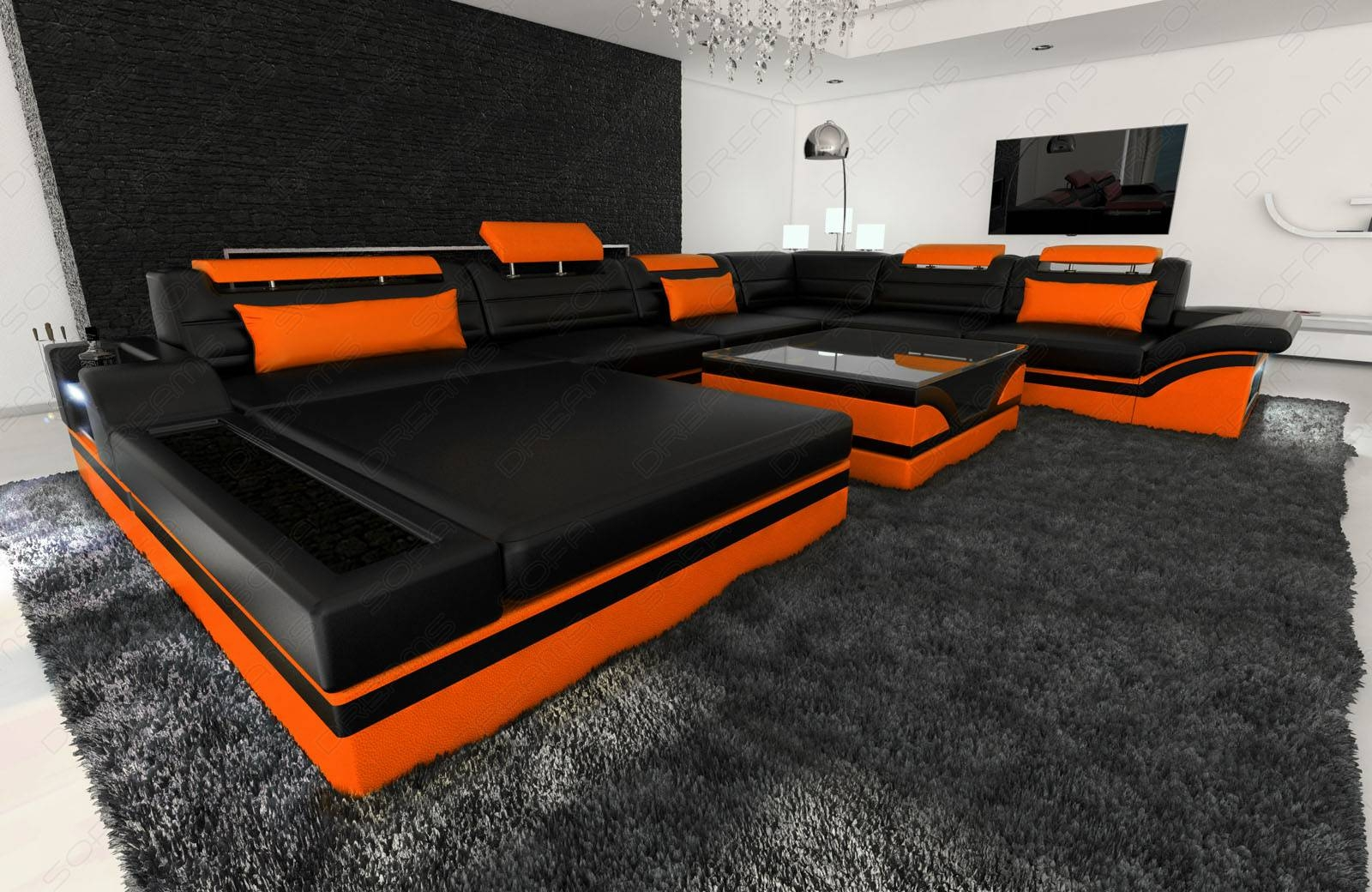 Design Sectional Sofa Mezzo Xxl With Led Lights Black Orange throughout Orange Sectional Sofa (Image 15 of 30)